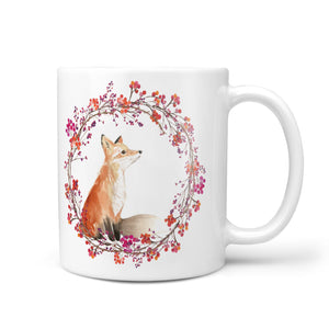 Personalised Fox Christmas Wreath 10oz Mug