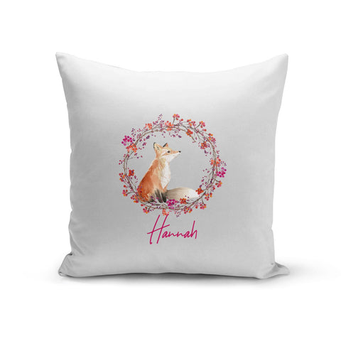 Personalised Fox Christmas Wreath Cushion