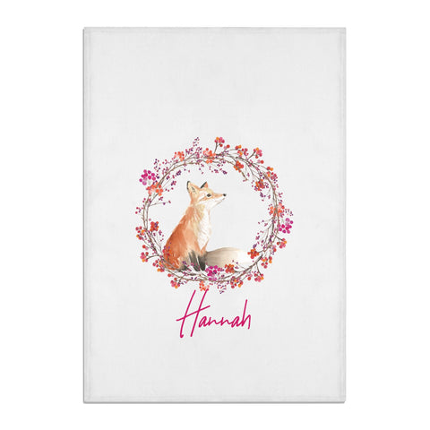 Personalised Fox Christmas Wreath Tea Towel