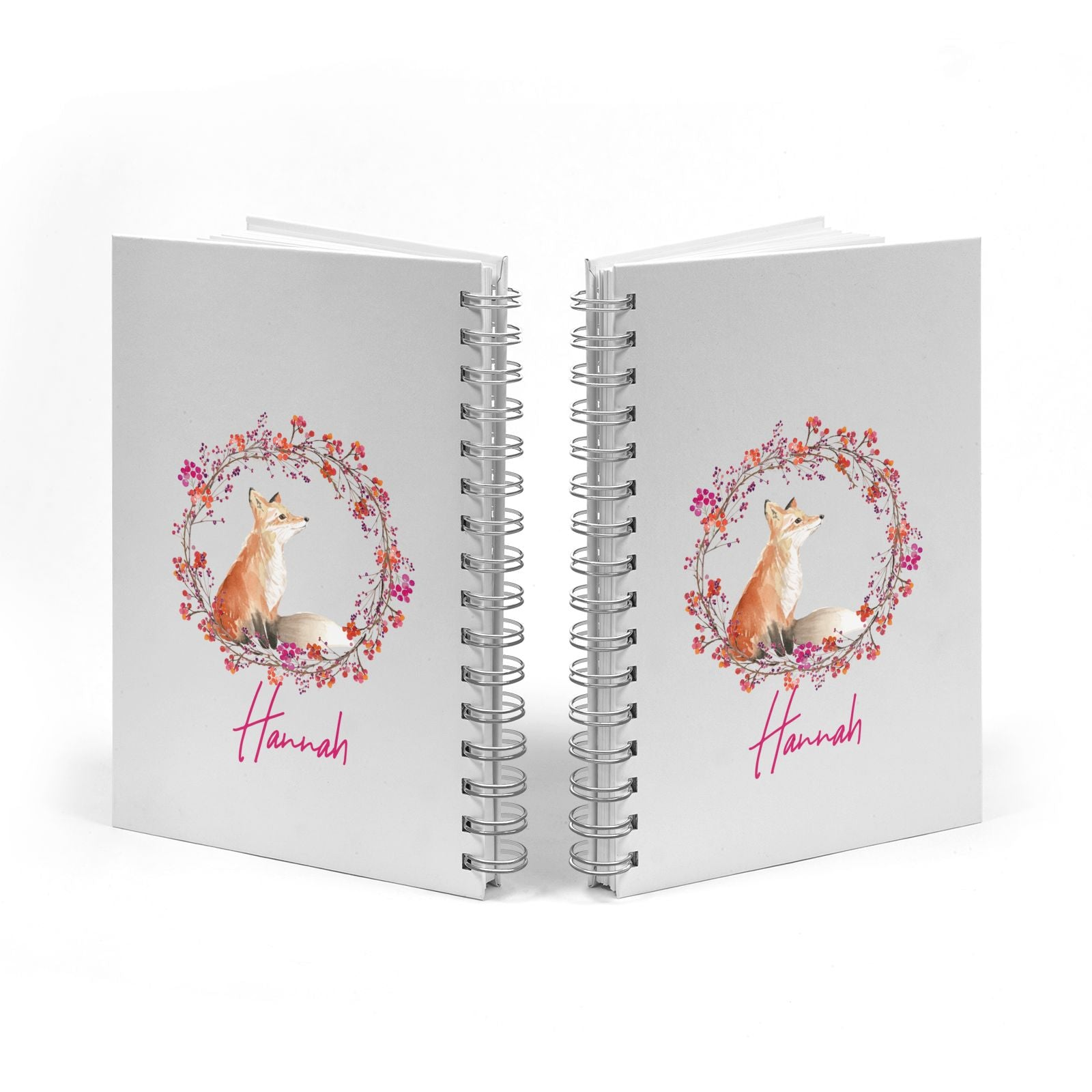Personalised Fox Christmas Wreath Notebook with Silver Coil Spine View