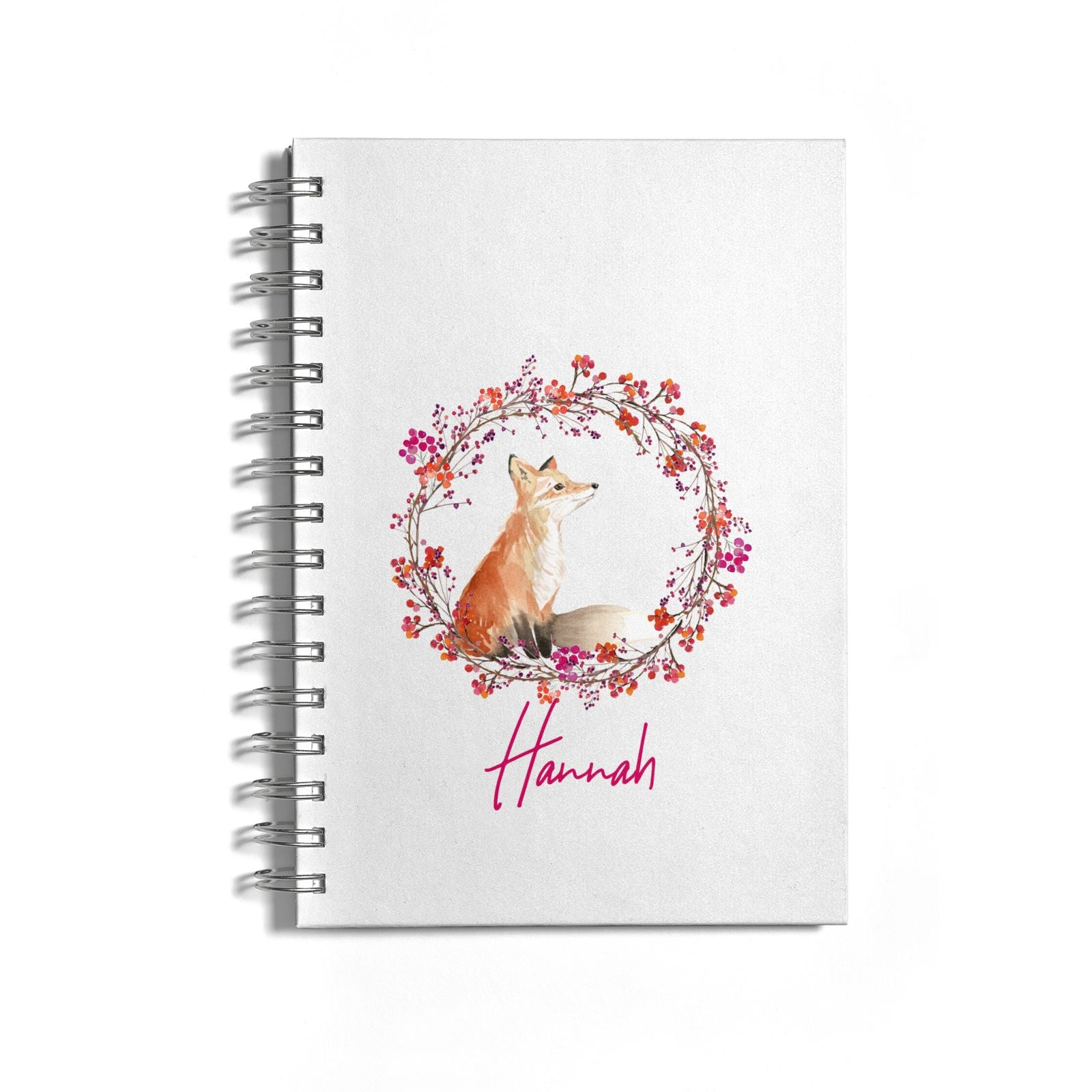 Personalised Fox Christmas Wreath Notebook with Silver Coil