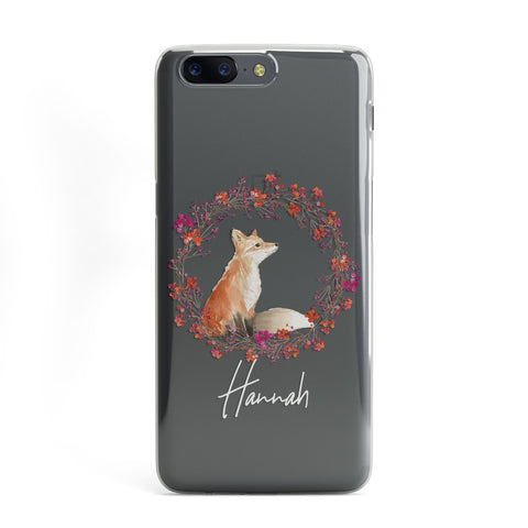 Personalised Fox Christmas Wreath OnePlus Case