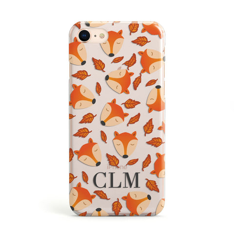 Personalised Fox Initials Clear Apple iPhone Case