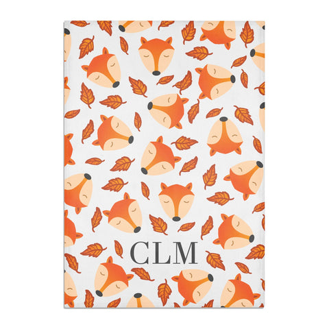 Personalised Fox Initials Tea Towel