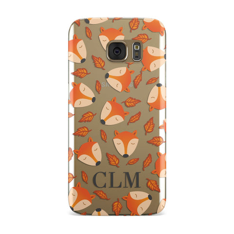 Personalised Fox Initials Clear Samsung Galaxy Case