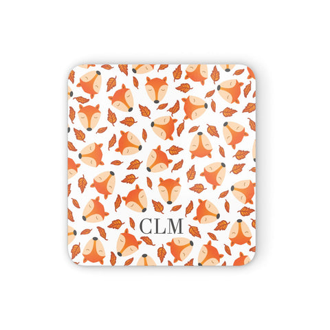Personalised Fox Initials Coasters set of 4