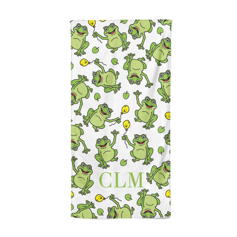 Personalised Frog Initials Beach Towel