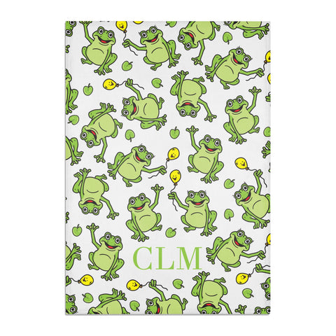 Personalised Frog Initials Tea Towel