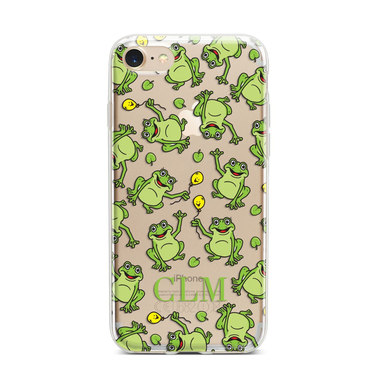 Personalised Frog Initials iPhone 7 Bumper Case on Gold iPhone