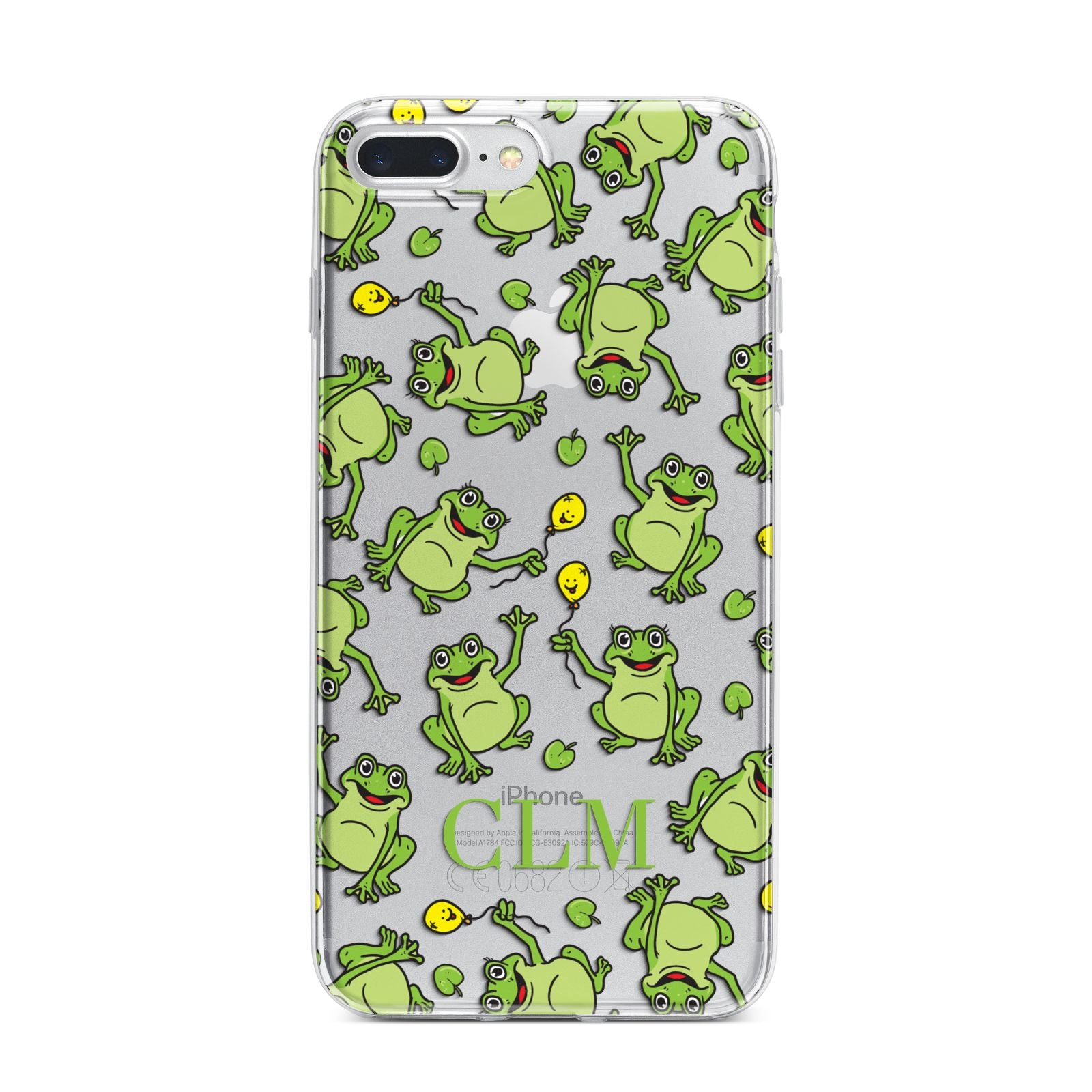 Personalised Frog Initials iPhone 7 Plus Bumper Case on Silver iPhone