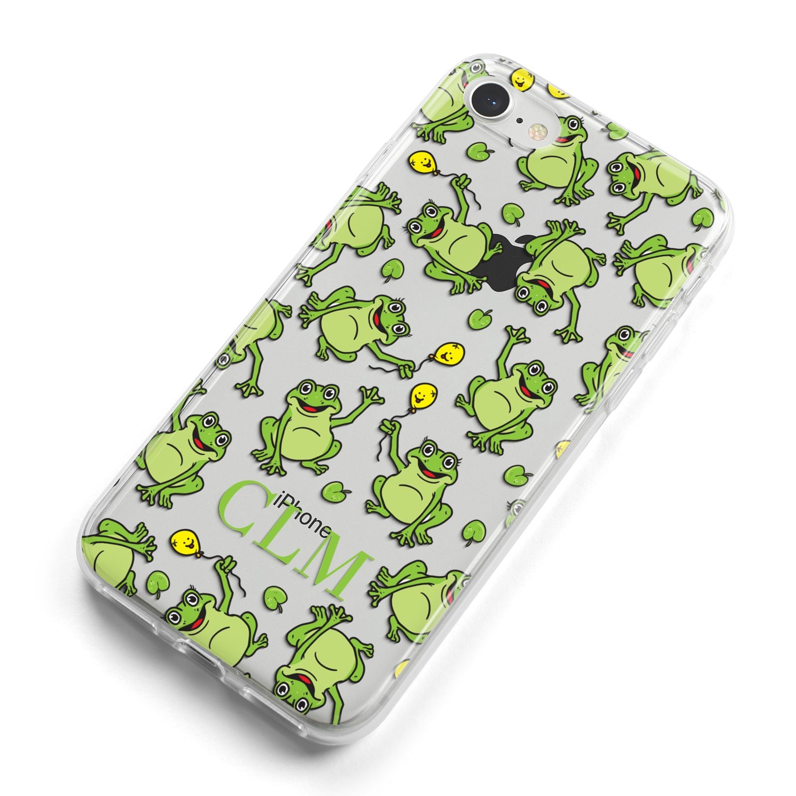 Personalised Frog Initials iPhone 8 Bumper Case on Silver iPhone Alternative Image