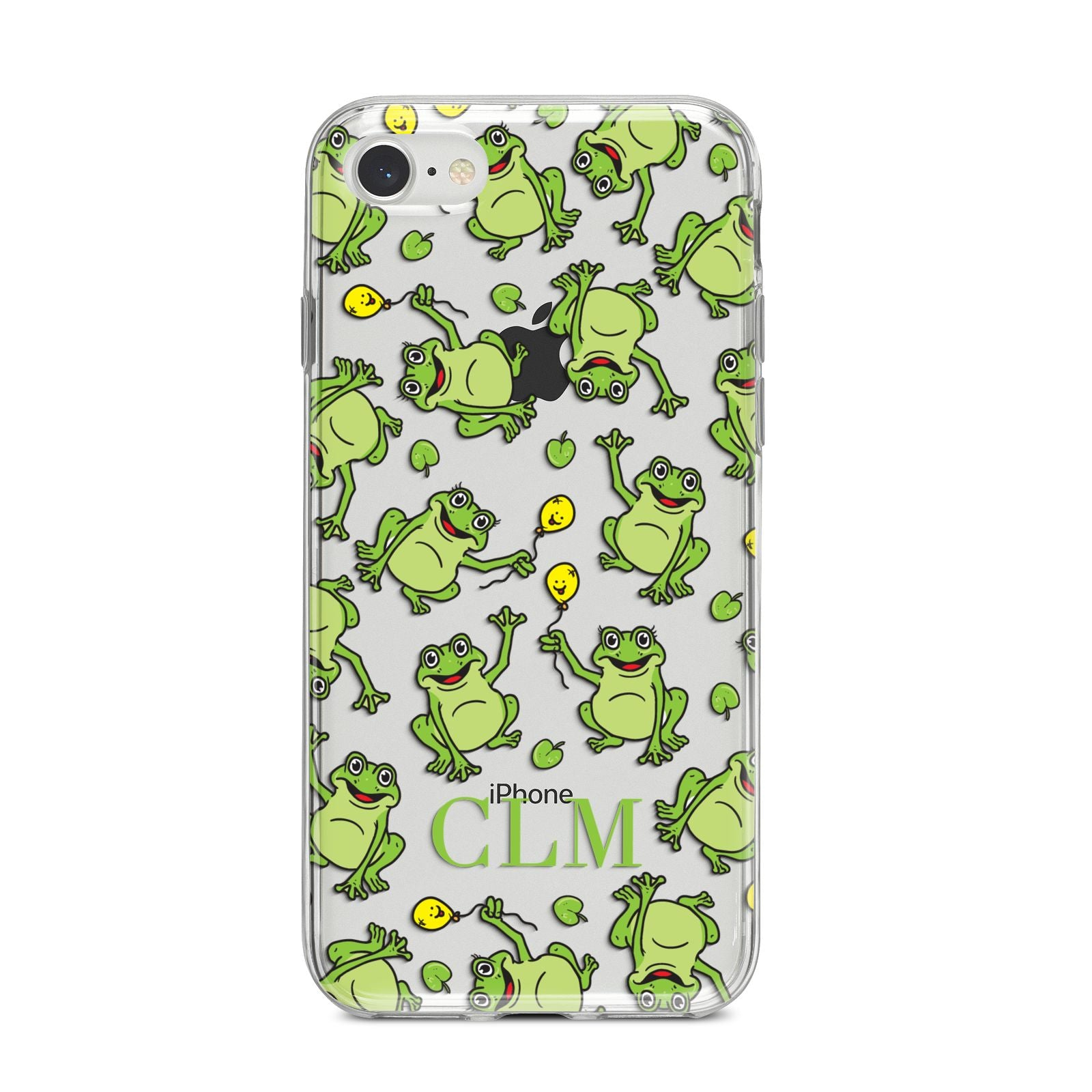 Personalised Frog Initials iPhone 8 Bumper Case on Silver iPhone