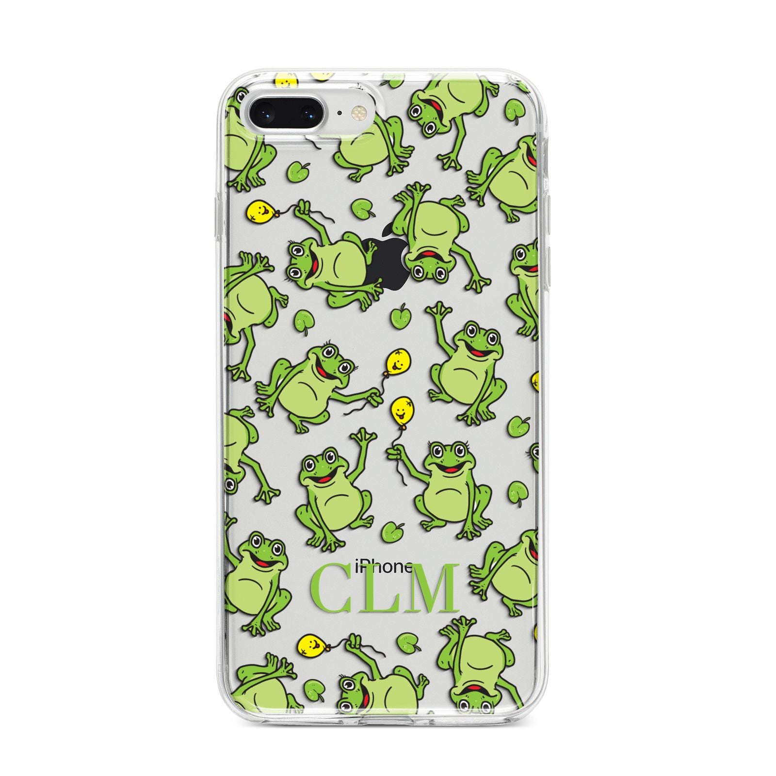 Personalised Frog Initials iPhone 8 Plus Bumper Case on Silver iPhone