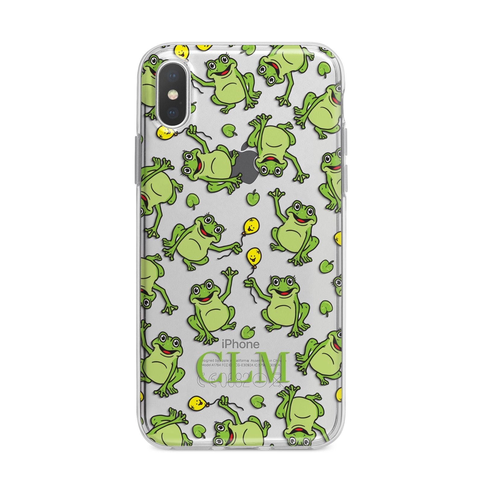 Personalised Frog Initials iPhone X Bumper Case on Silver iPhone Alternative Image 1