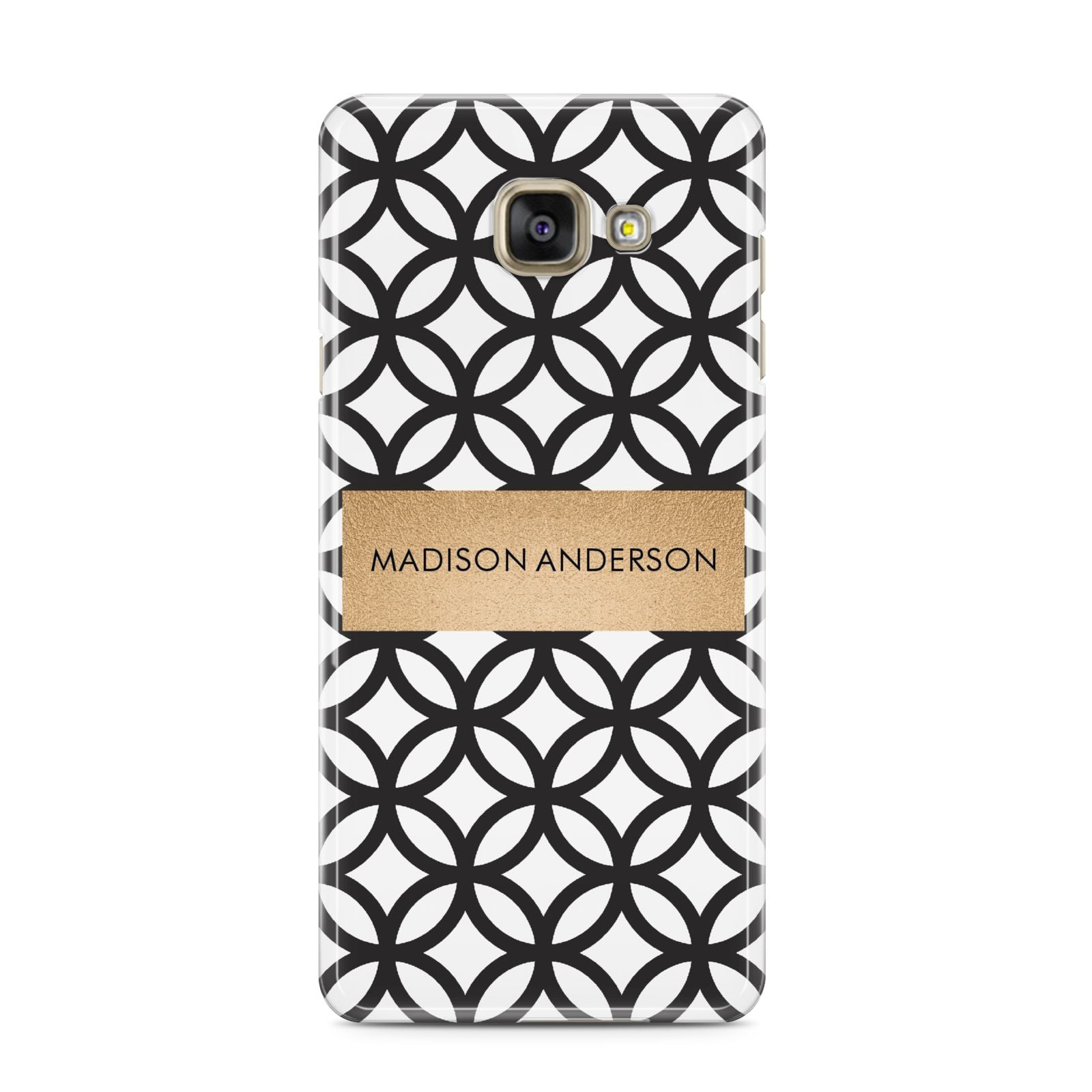 Personalised Geometric Name Or Initials Custom Samsung Galaxy A3 2016 Case on gold phone