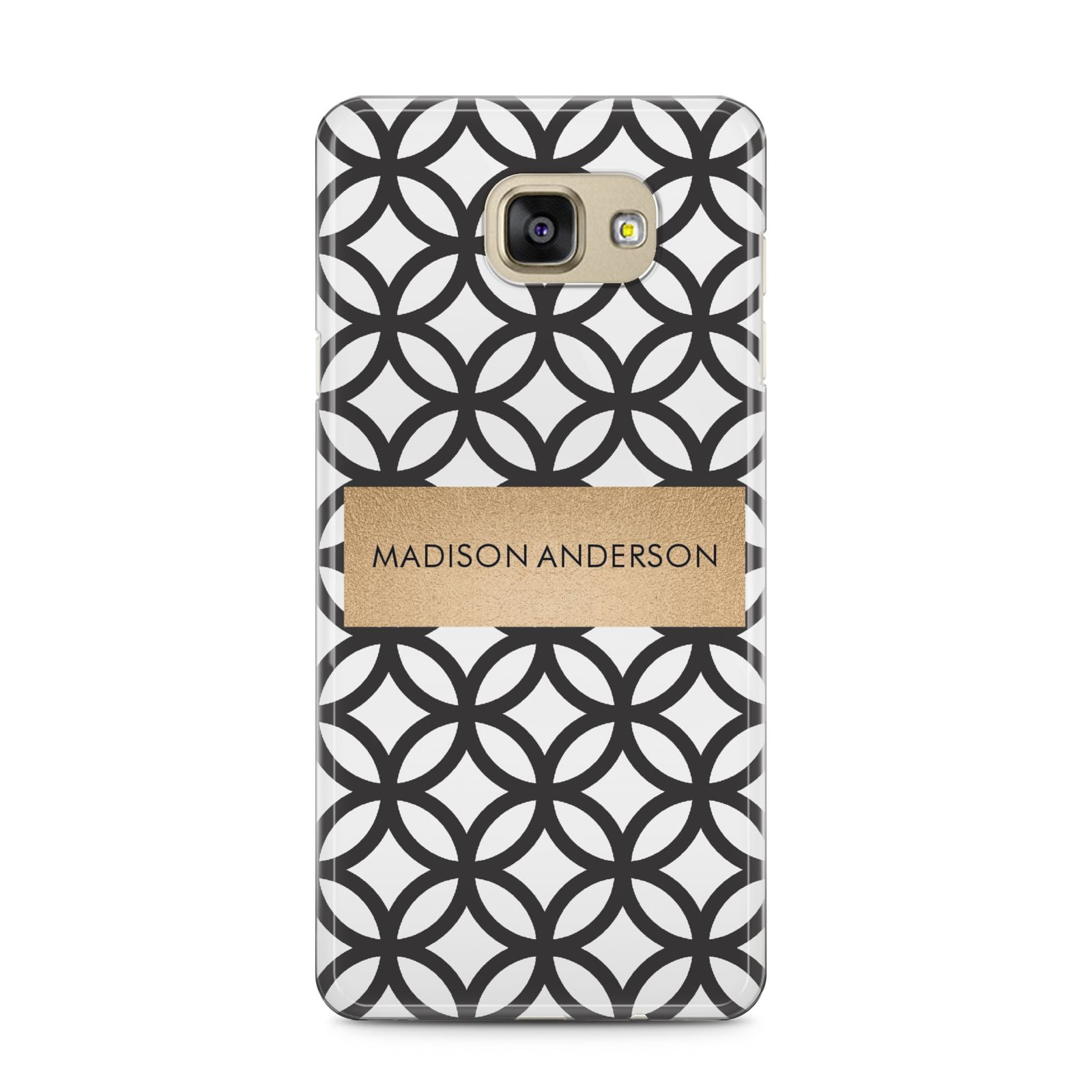 Personalised Geometric Name Or Initials Custom Samsung Galaxy A5 2016 Case on gold phone