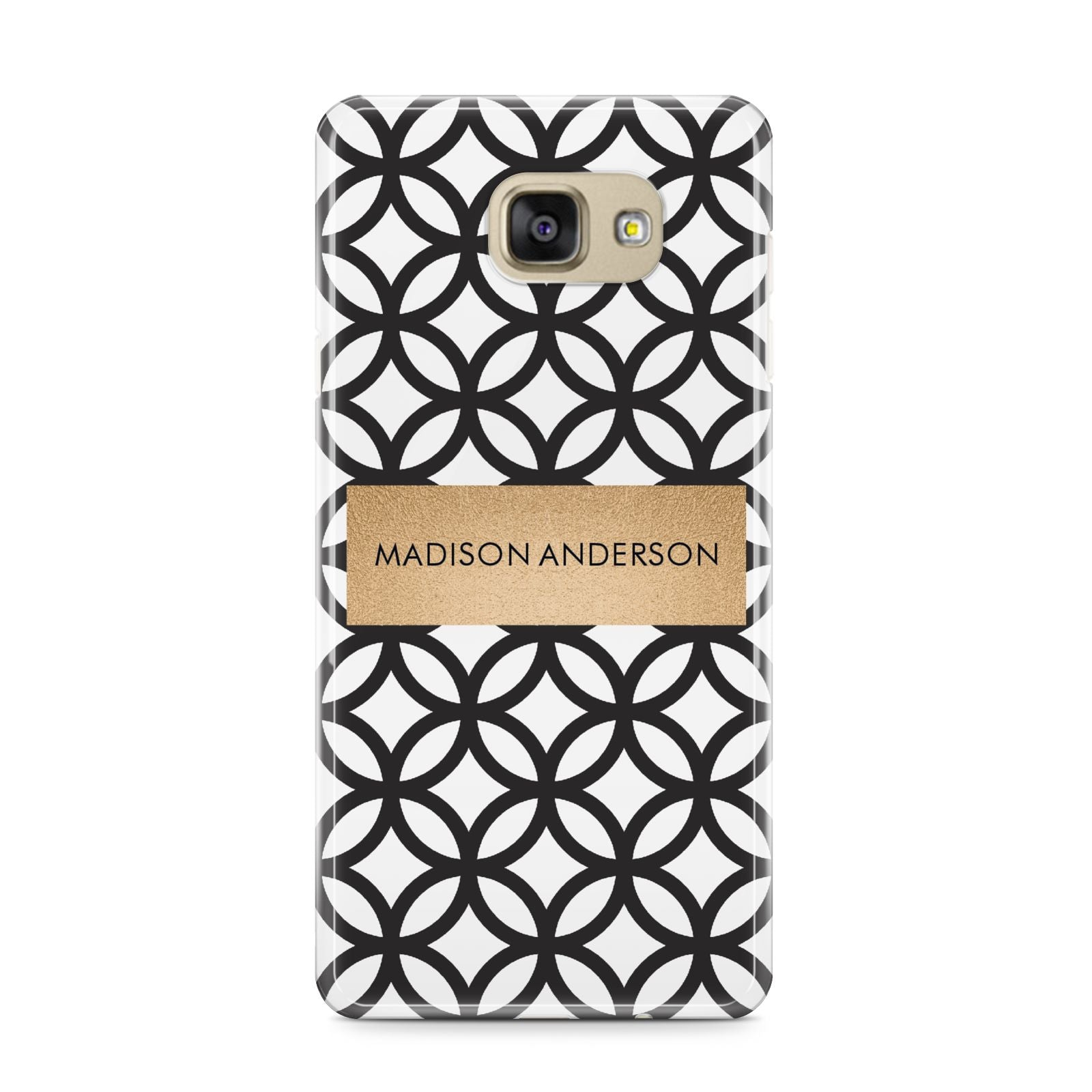 Personalised Geometric Name Or Initials Custom Samsung Galaxy A9 2016 Case on gold phone