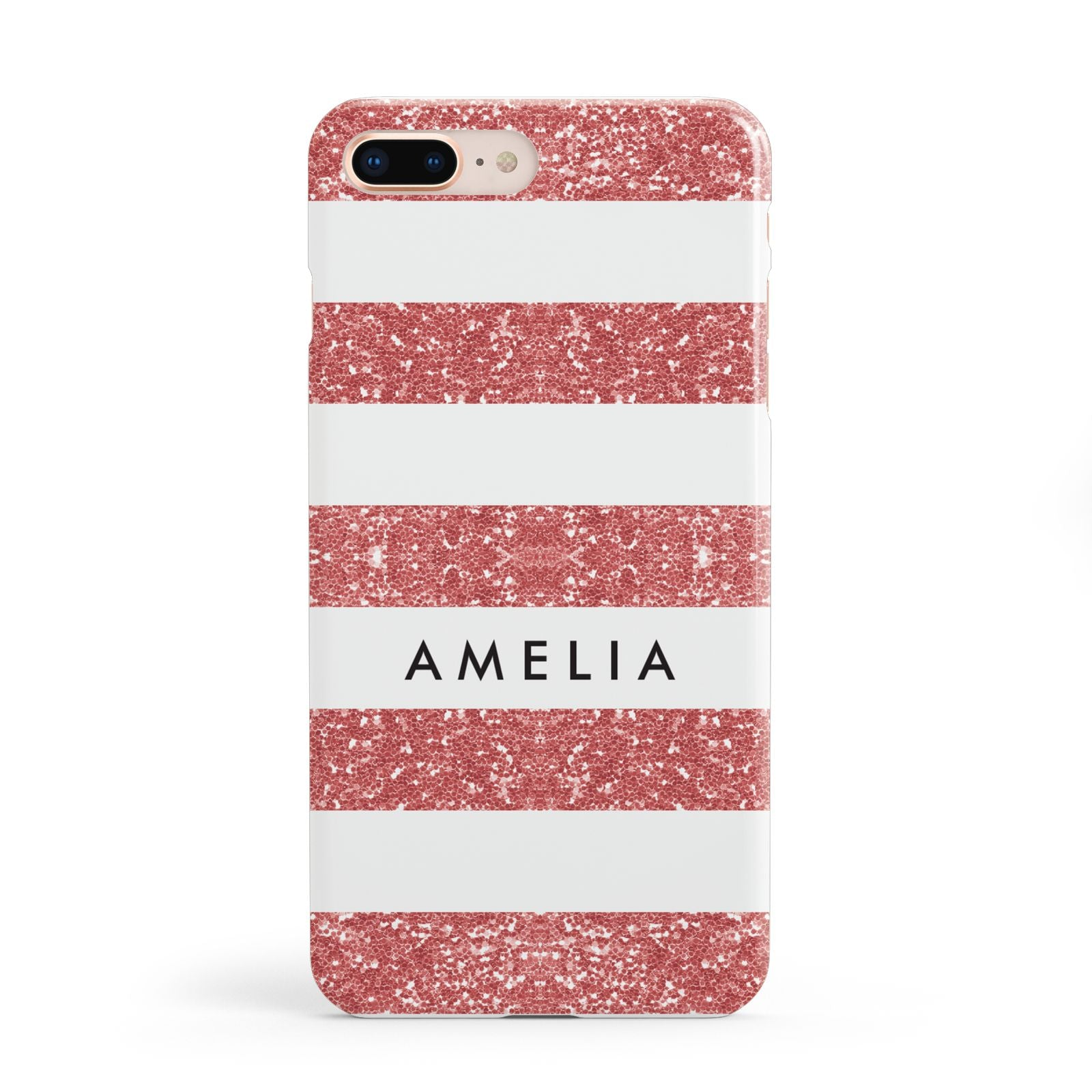 Personalised Glitter Effect Name Initials Apple iPhone 8 Plus Case