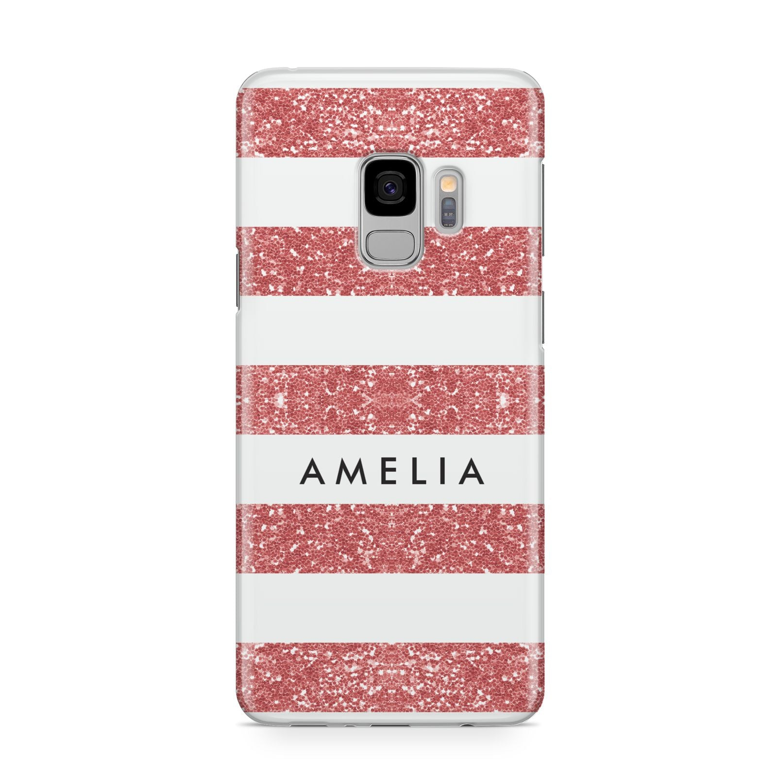 Personalised Glitter Effect Name Initials Samsung Galaxy S9 Case