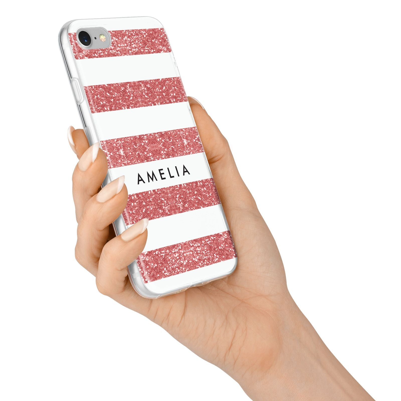 Personalised Glitter Effect Name Initials iPhone 7 Bumper Case on Silver iPhone Alternative Image