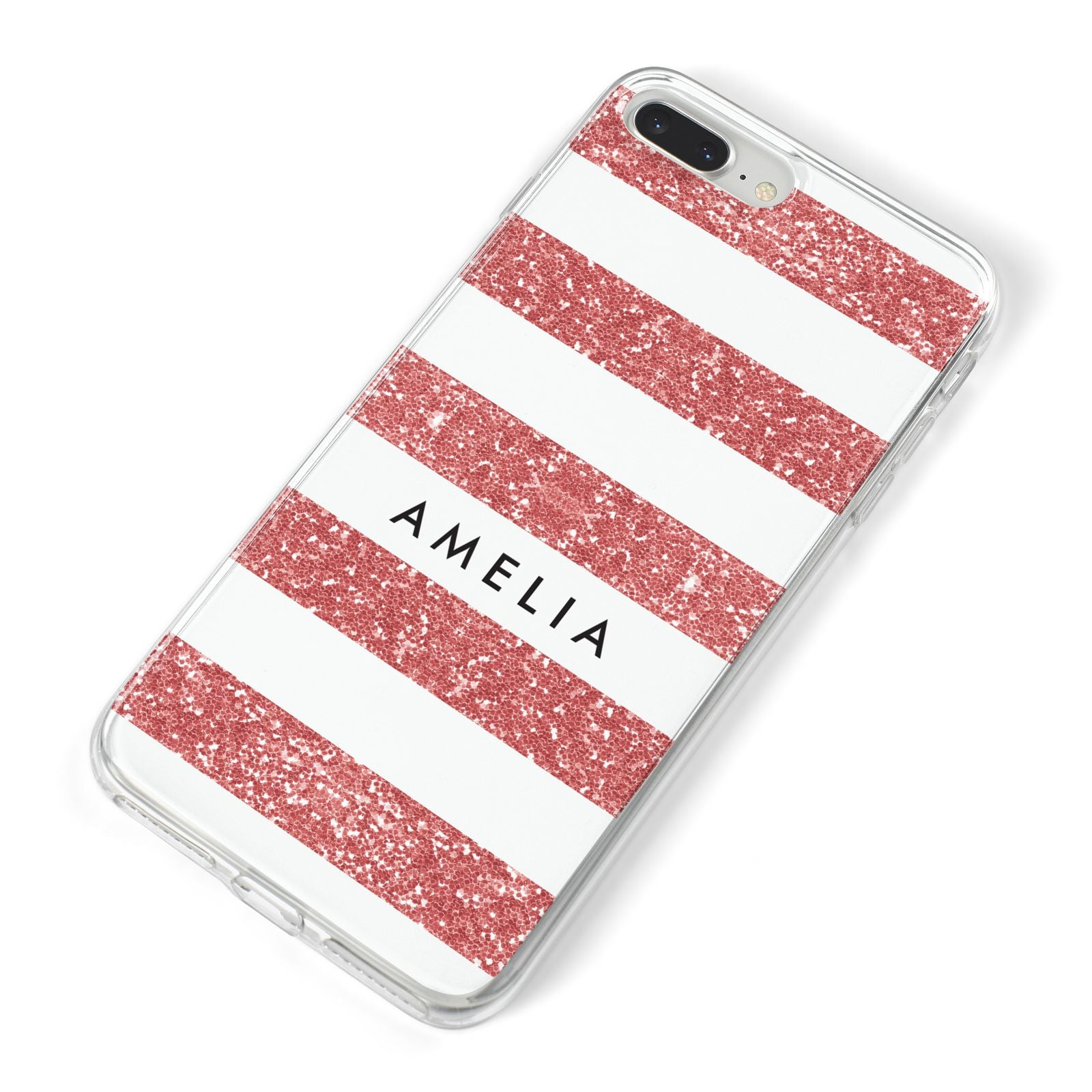 Personalised Glitter Effect Name Initials iPhone 8 Plus Bumper Case on Silver iPhone Alternative Image