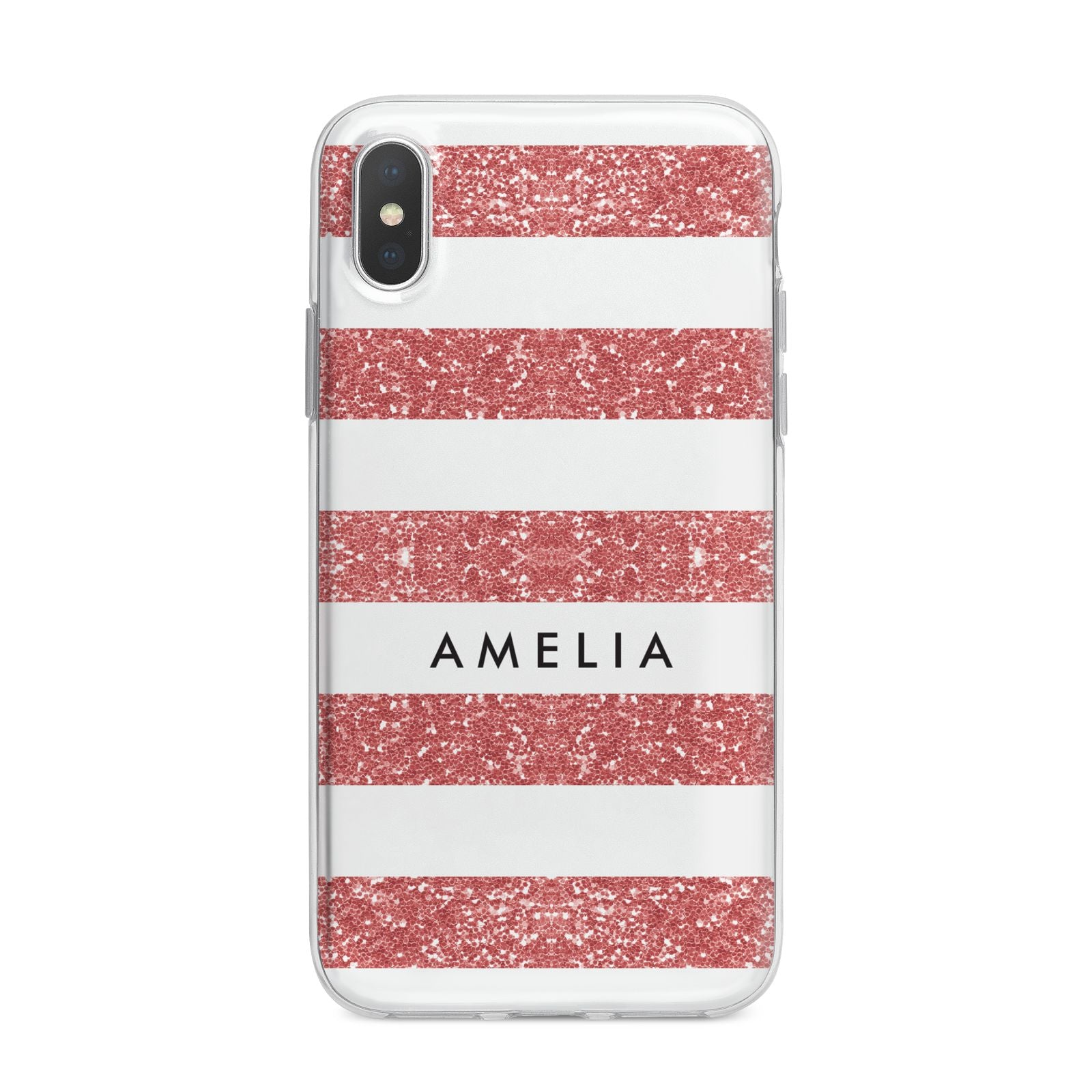Personalised Glitter Effect Name Initials iPhone X Bumper Case on Silver iPhone Alternative Image 1