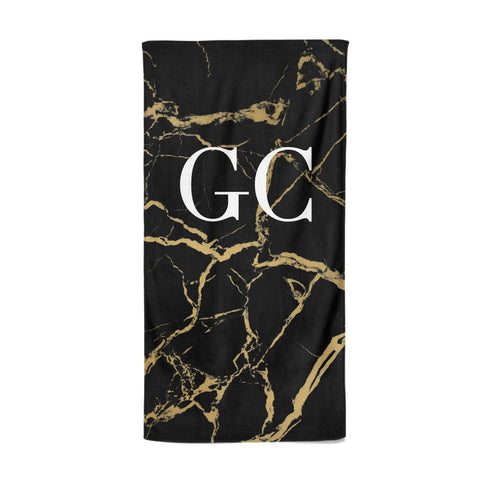 Personalised Gold Black Marble Monogram Beach Towel