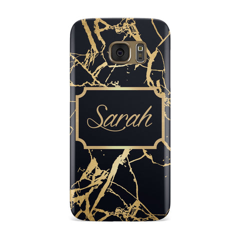 Personalised Gold Black Marble & Name Samsung Galaxy Case