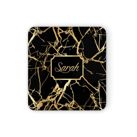 Personalised Gold Black Marble & Name Coasters set of 4