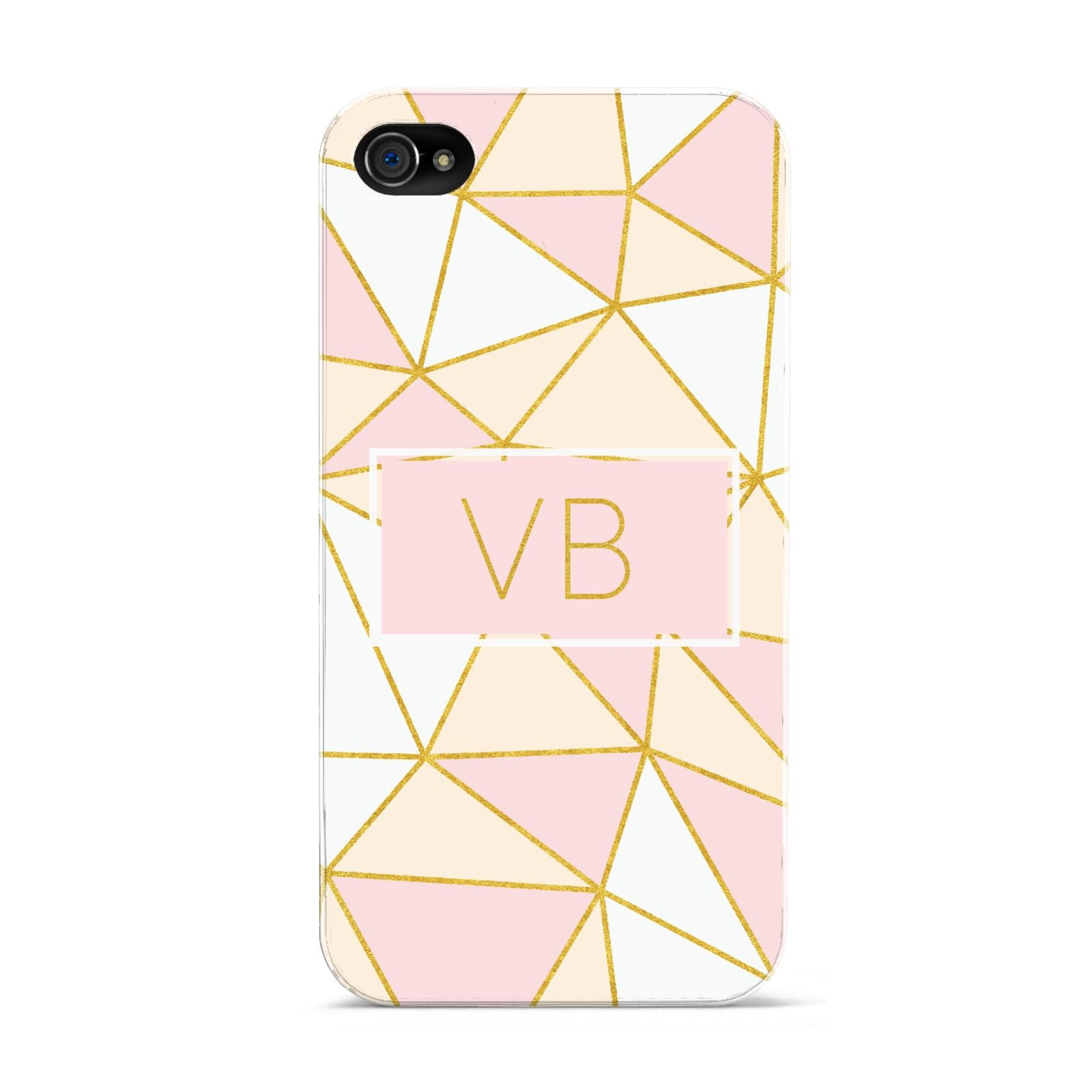 Personalised Gold Initials Geometric Apple iPhone 4s Case