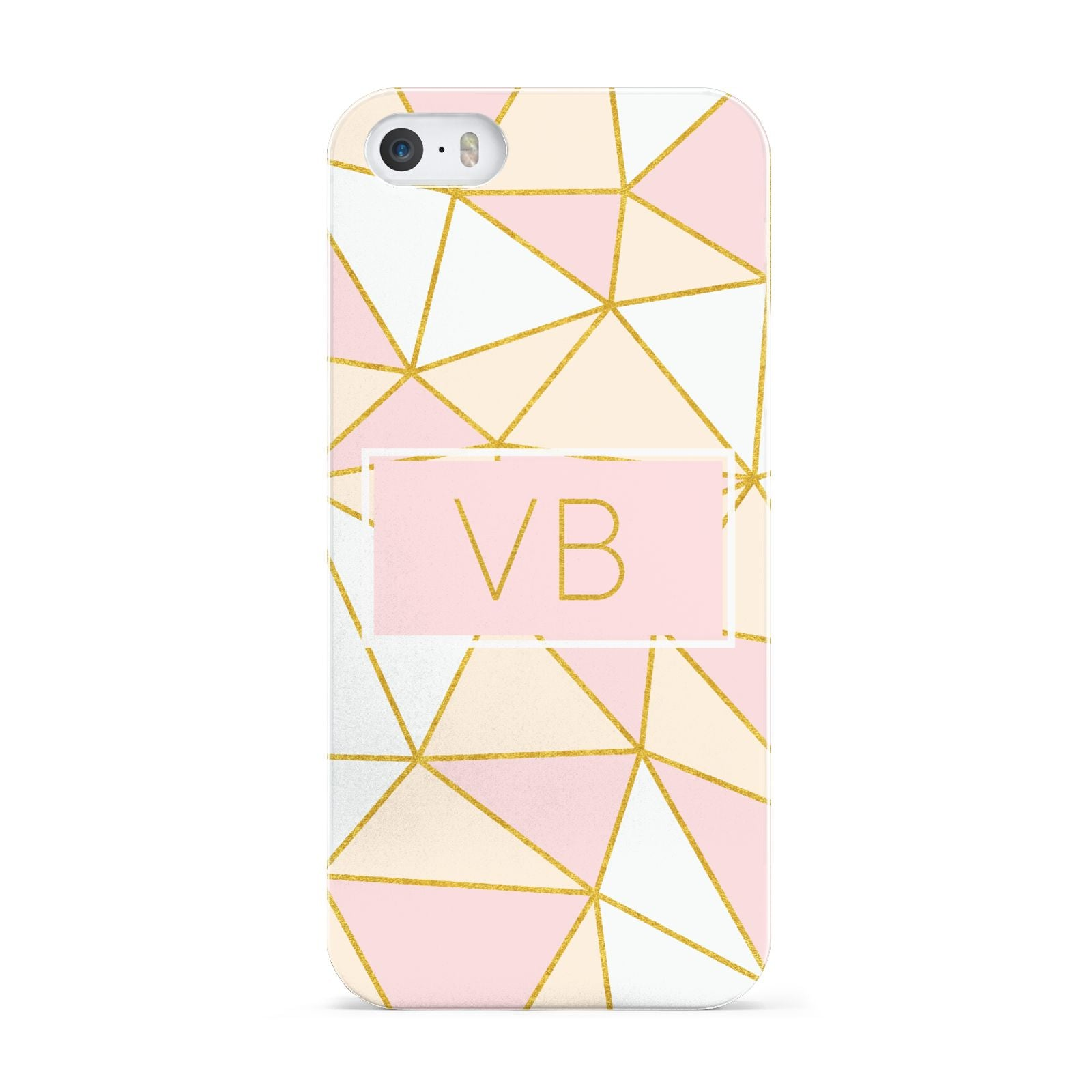 Personalised Gold Initials Geometric Apple iPhone 5 Case