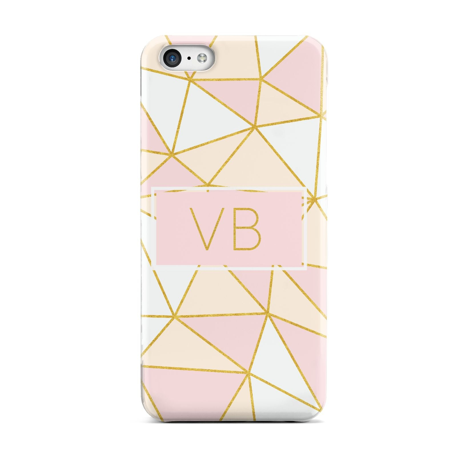 Personalised Gold Initials Geometric Apple iPhone 5c Case