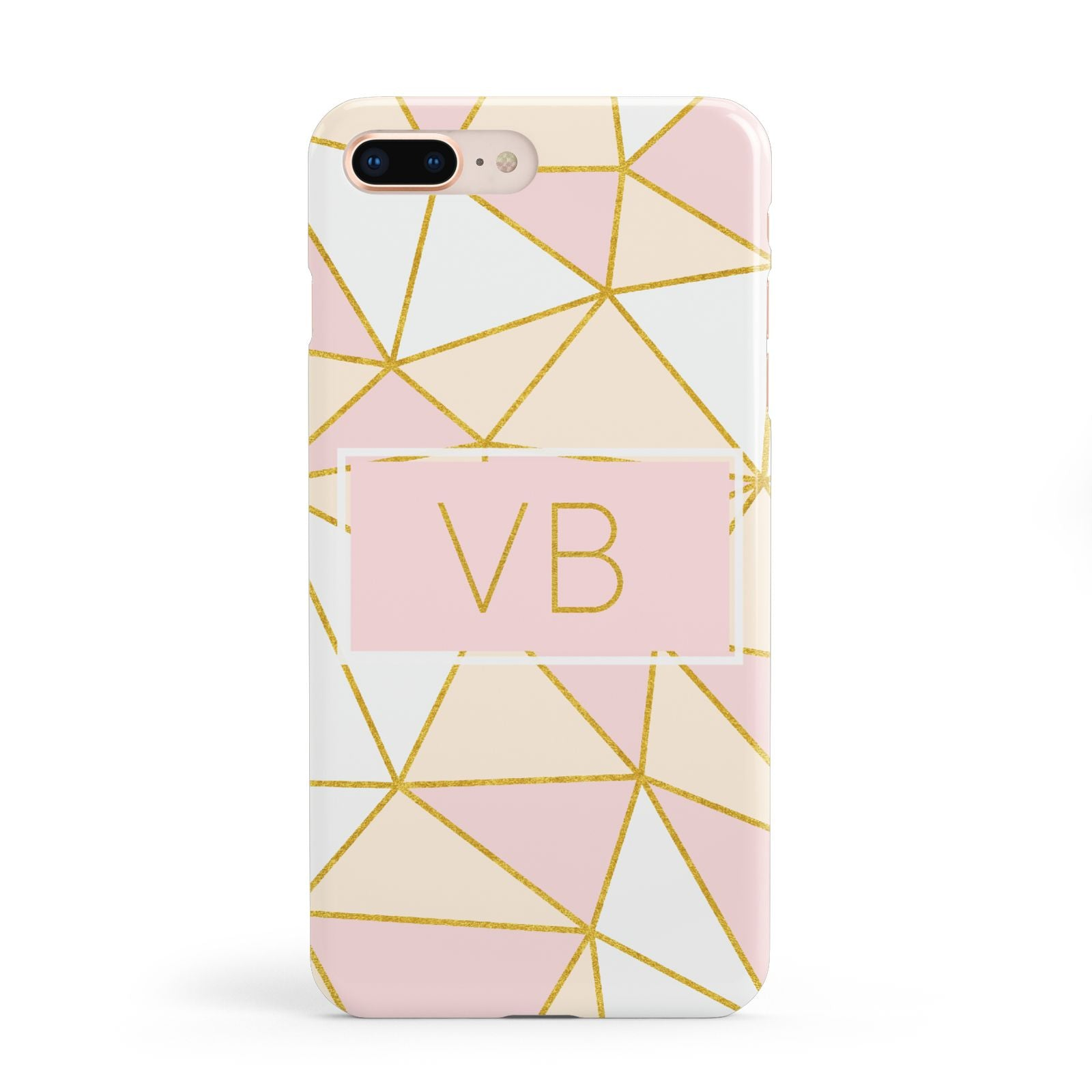 Personalised Gold Initials Geometric Apple iPhone 8 Plus Case