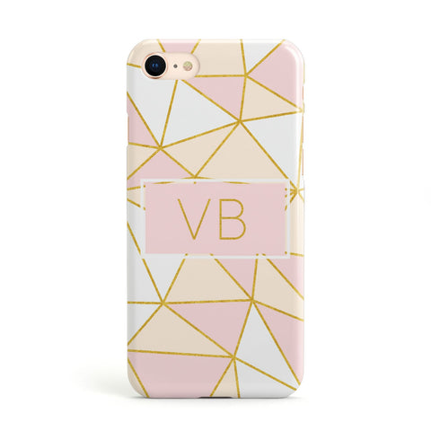 Personalised Gold Initials Geometric Apple iPhone Case