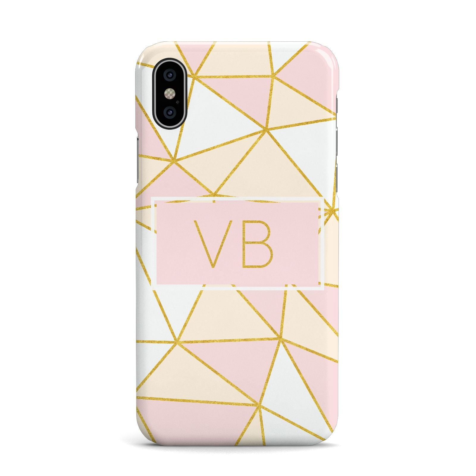 Personalised Gold Initials Geometric Apple iPhone X Case