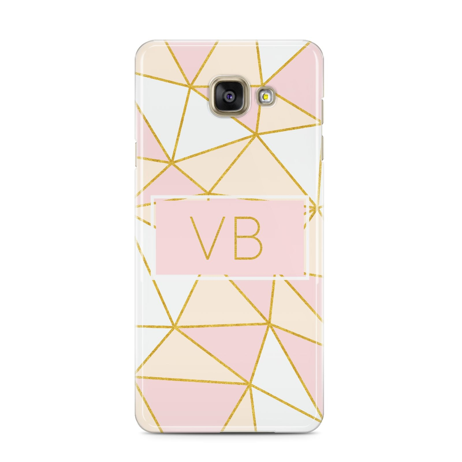 Personalised Gold Initials Geometric Samsung Galaxy A3 2016 Case on gold phone