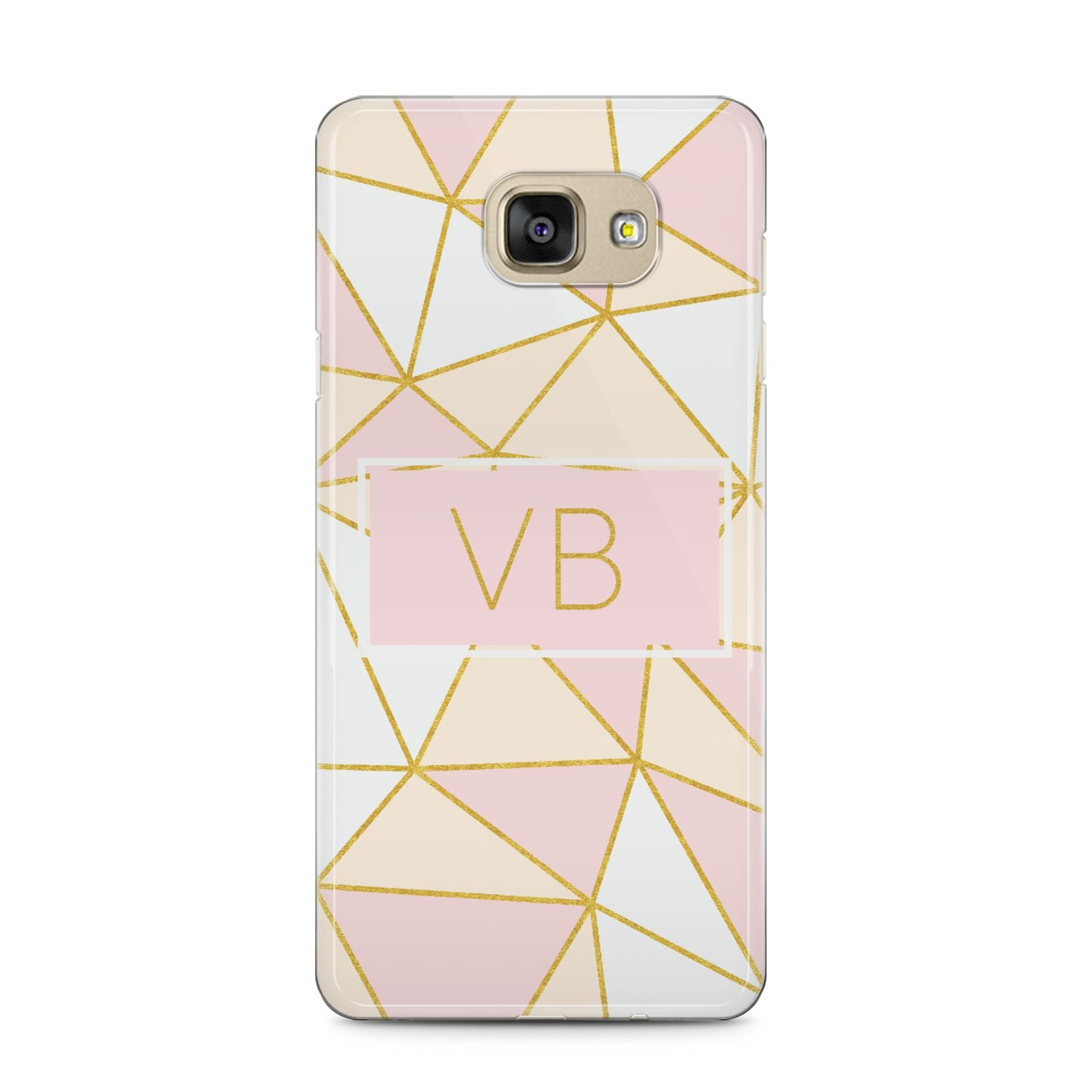 Personalised Gold Initials Geometric Samsung Galaxy A5 2016 Case on gold phone