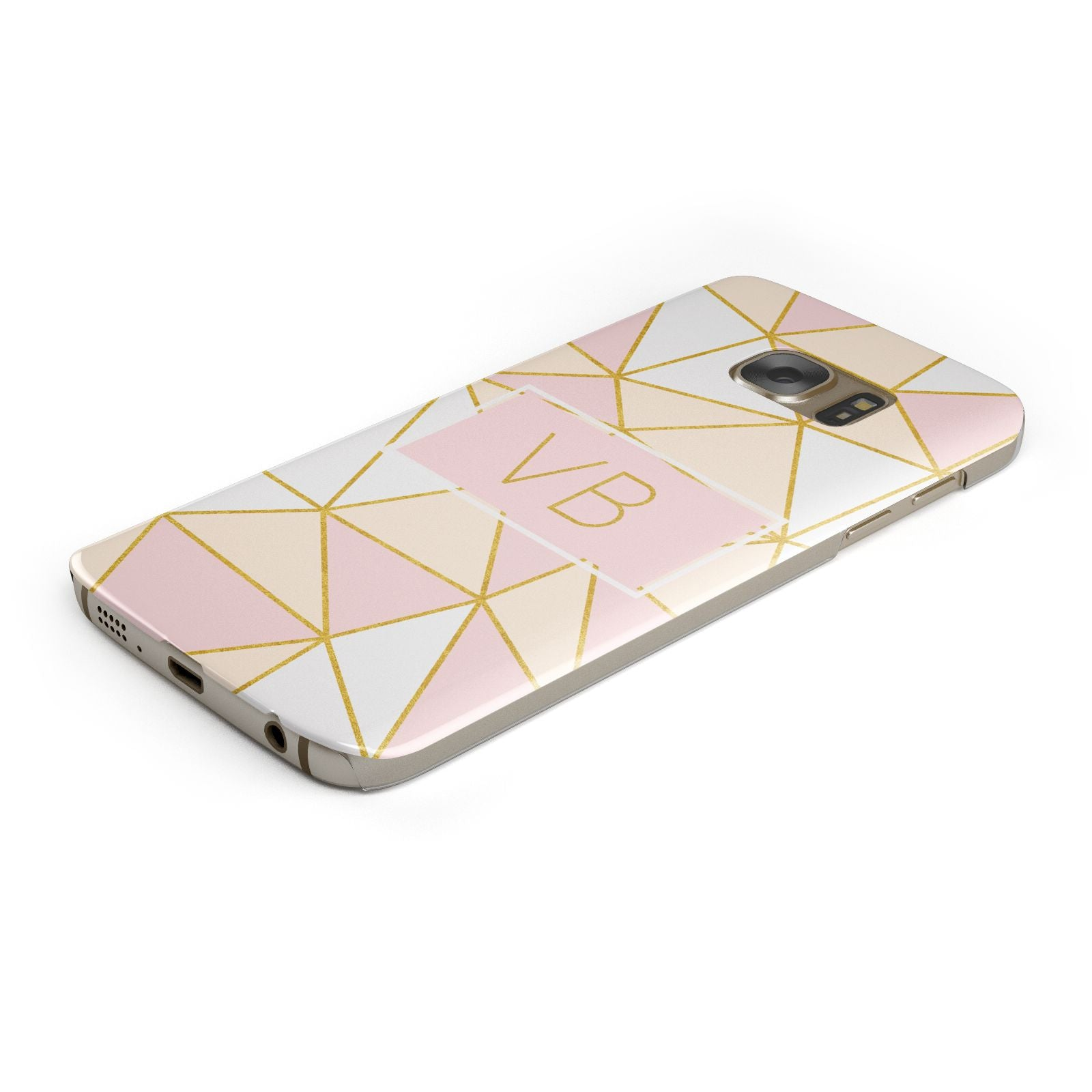 Personalised Gold Initials Geometric Samsung Galaxy Case Bottom Cutout