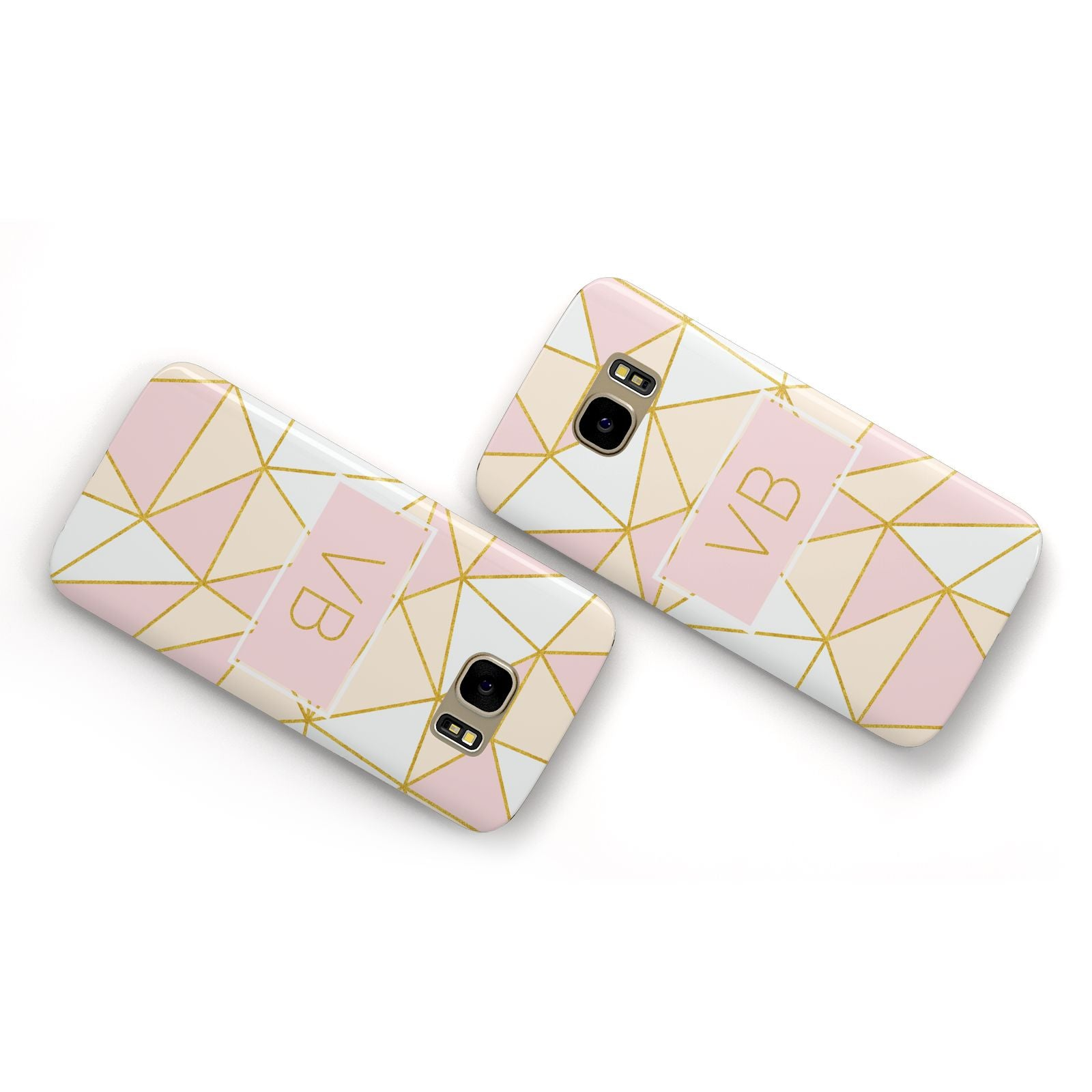 Personalised Gold Initials Geometric Samsung Galaxy Case Flat Overview
