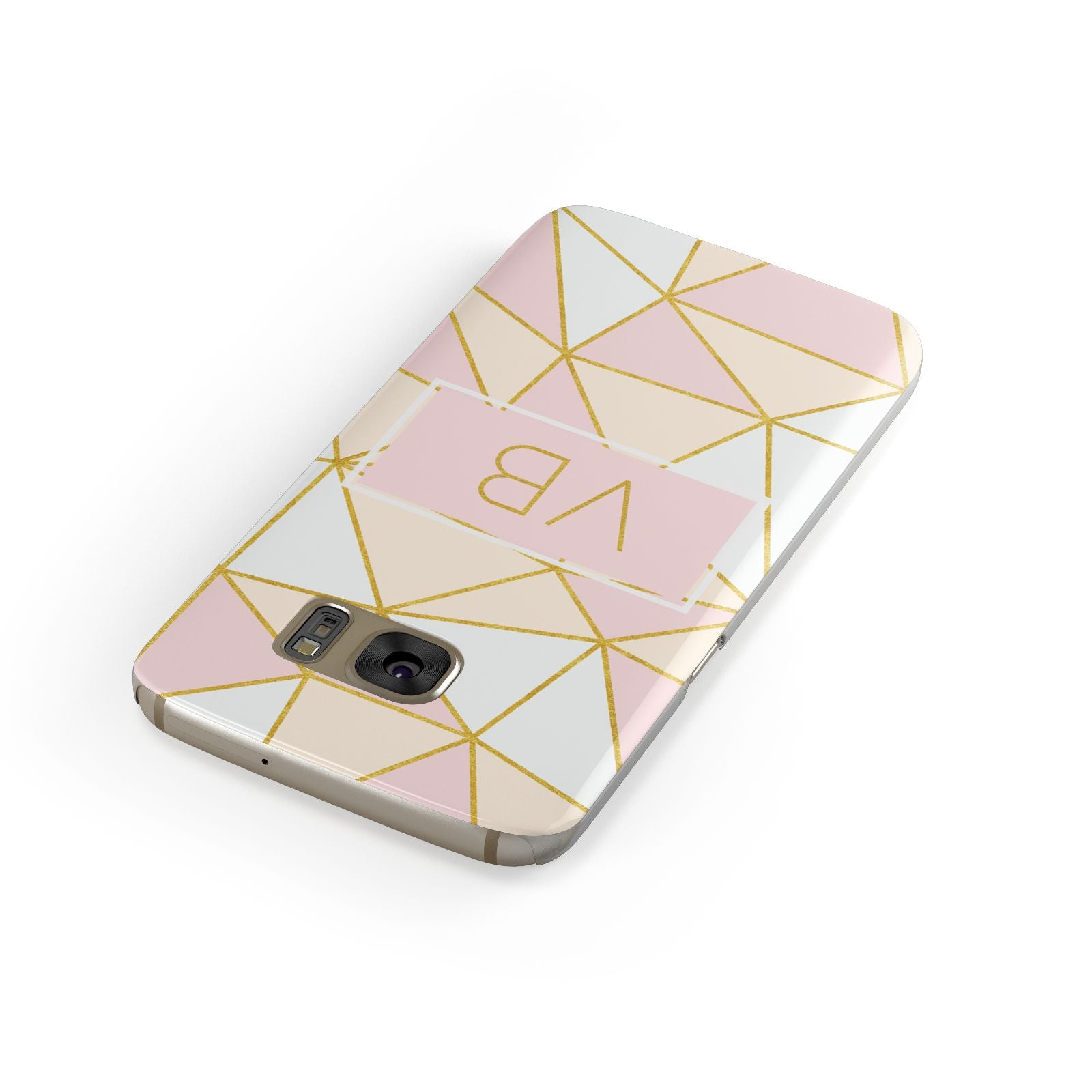 Personalised Gold Initials Geometric Samsung Galaxy Case Front Close Up