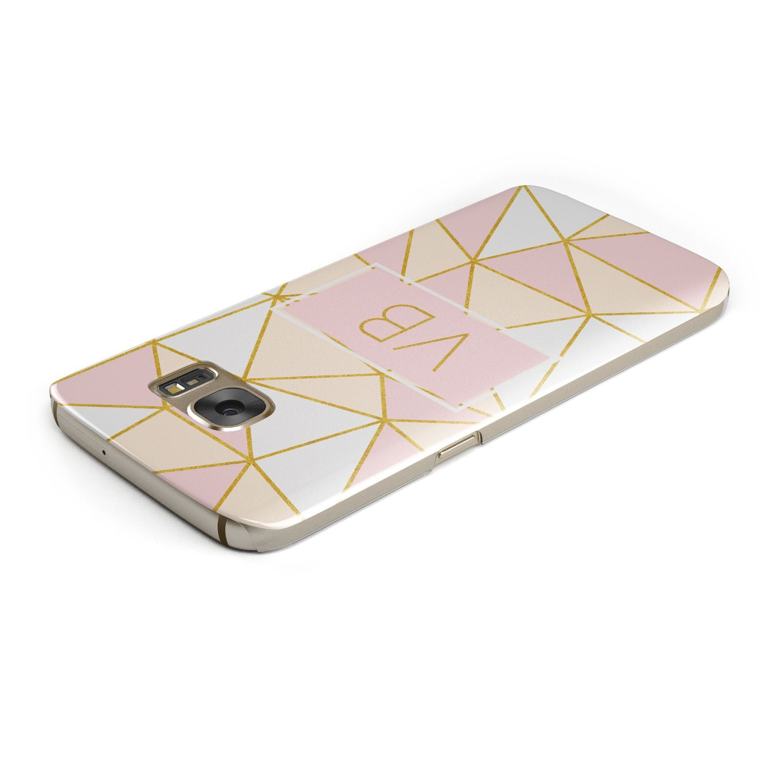 Personalised Gold Initials Geometric Samsung Galaxy Case Top Cutout