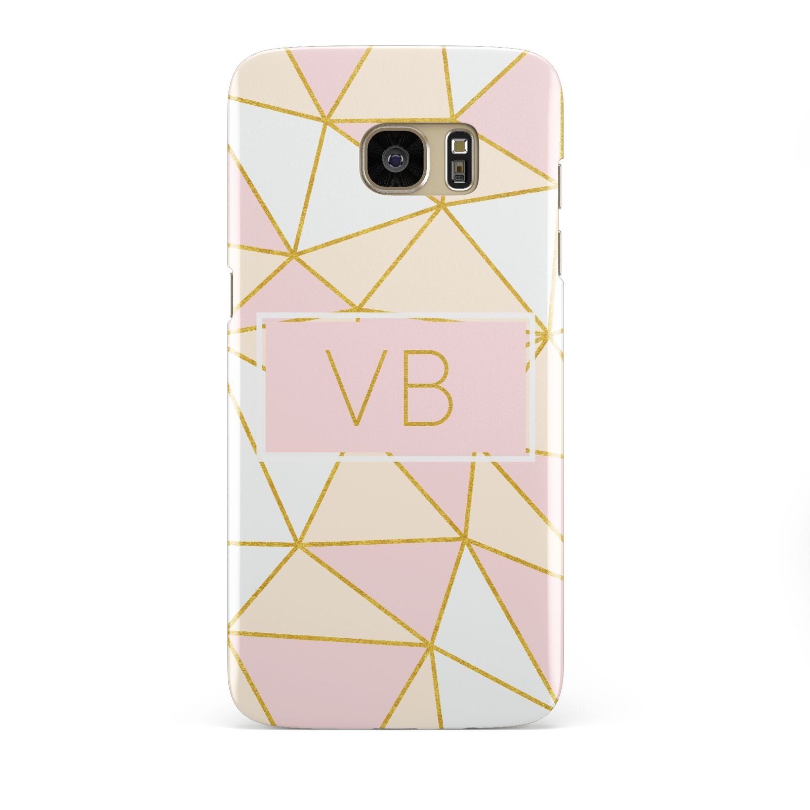 Personalised Gold Initials Geometric Samsung Galaxy S7 Edge Case