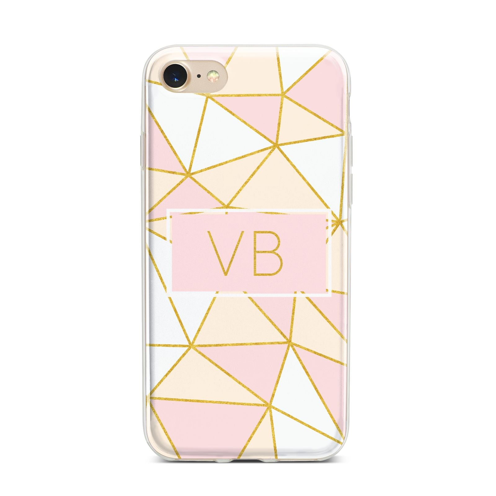Personalised Gold Initials Geometric iPhone 7 Bumper Case on Gold iPhone
