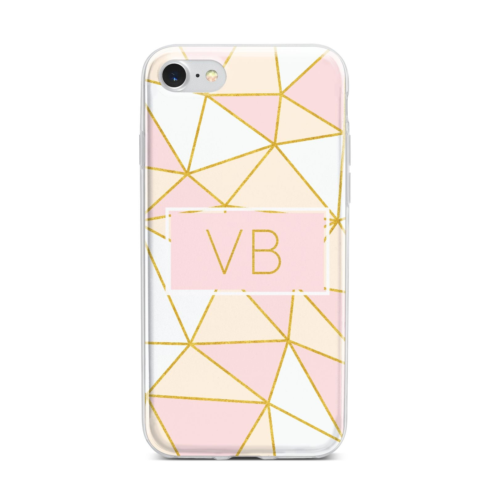 Personalised Gold Initials Geometric iPhone 7 Bumper Case on Silver iPhone