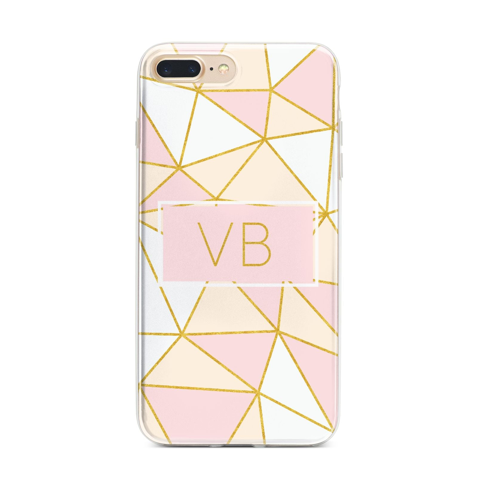 Personalised Gold Initials Geometric iPhone 7 Plus Bumper Case on Gold iPhone