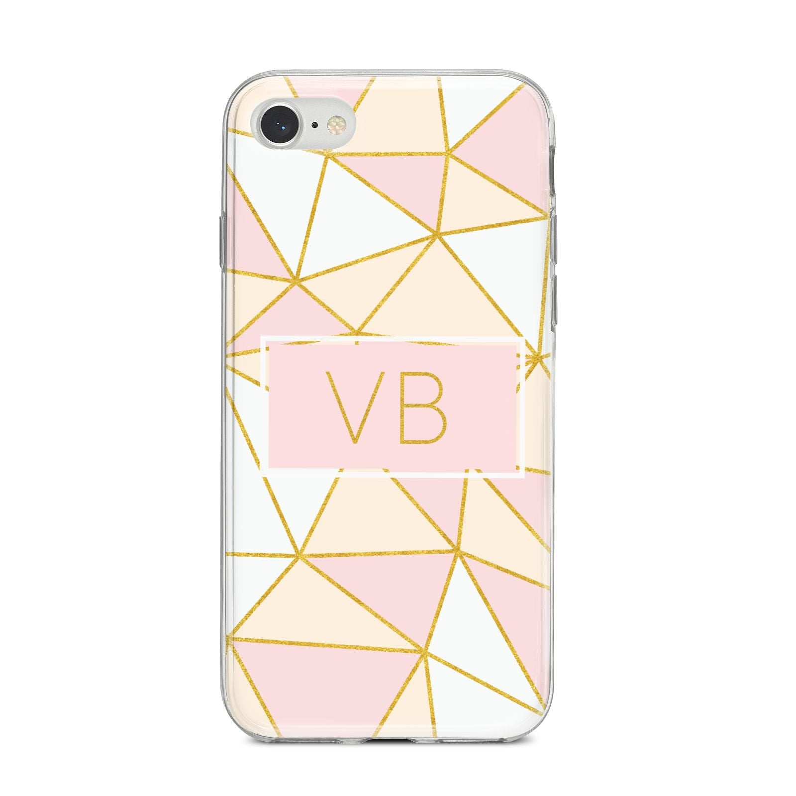 Personalised Gold Initials Geometric iPhone 8 Bumper Case on Silver iPhone