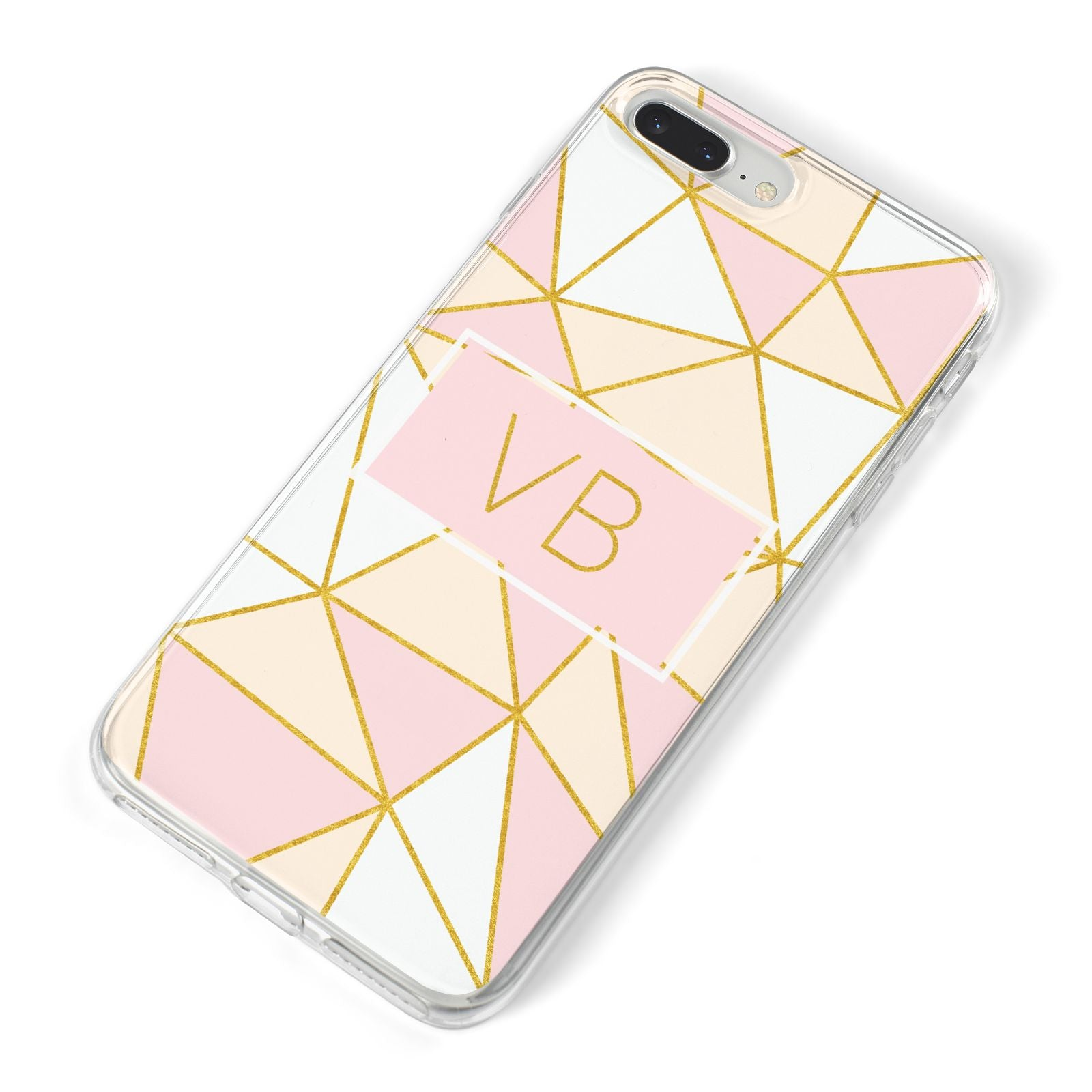 Personalised Gold Initials Geometric iPhone 8 Plus Bumper Case on Silver iPhone Alternative Image