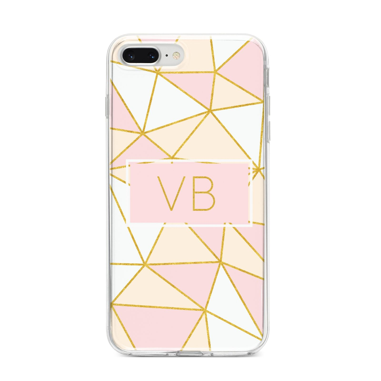 Personalised Gold Initials Geometric iPhone 8 Plus Bumper Case on Silver iPhone