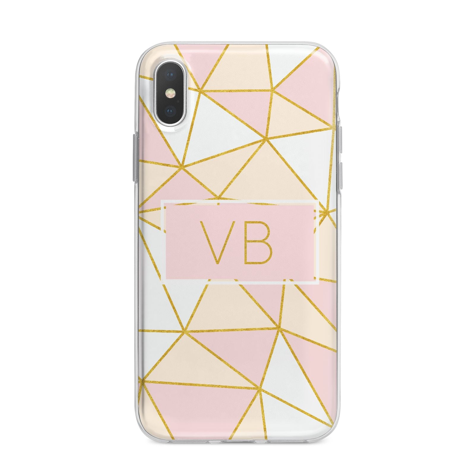 Personalised Gold Initials Geometric iPhone X Bumper Case on Silver iPhone Alternative Image 1