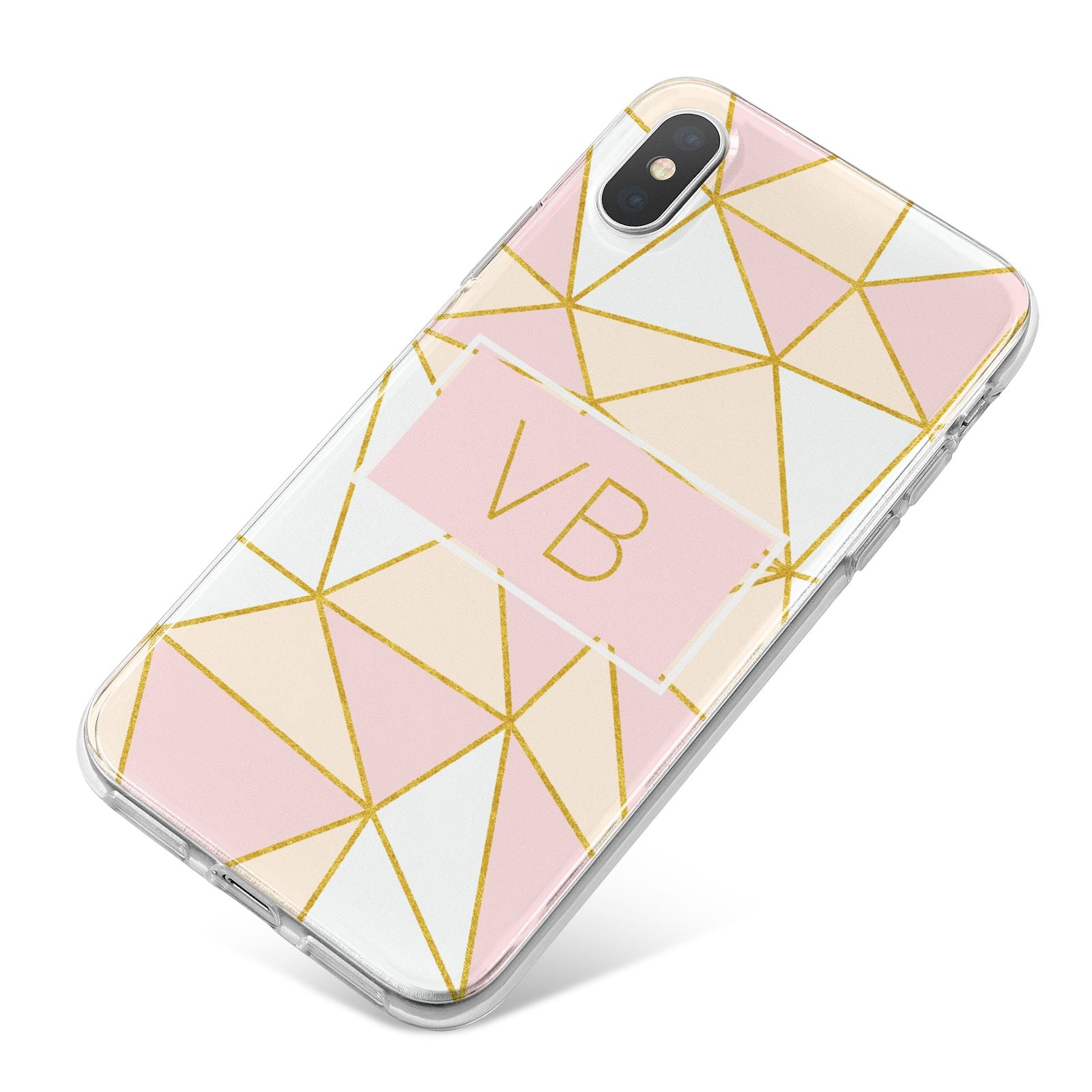 Personalised Gold Initials Geometric iPhone X Bumper Case on Silver iPhone